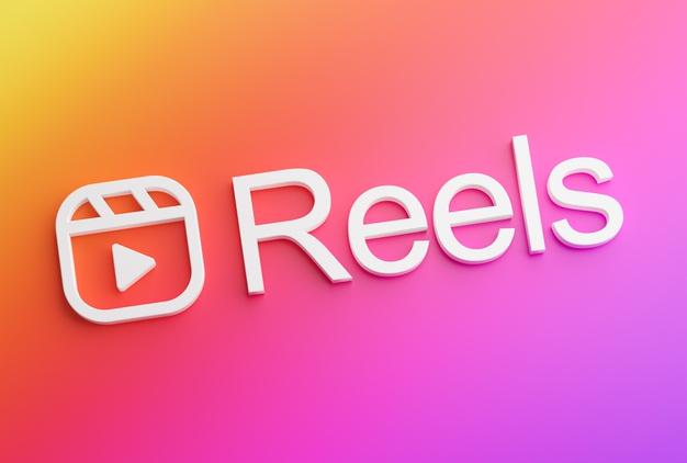 """imagem em degrade rosa com o símbolo do reels e escrito com letra 3D a palavra """"reels"""""""